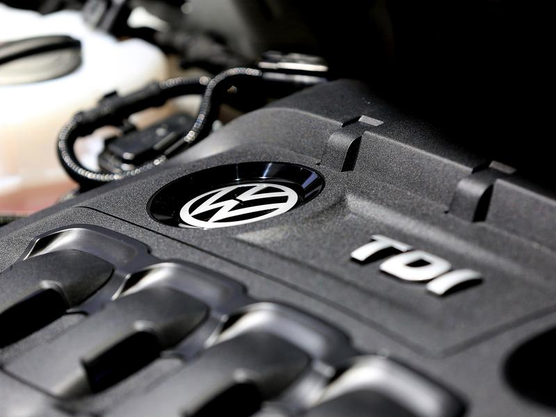 A longtime Volkswagen engineer has pleaded guilty to conspiracy charges as part of a deal with prosecutors. Here, the turbo diesel injection (TDI) engine of a Volkswagen vehicle is seen.