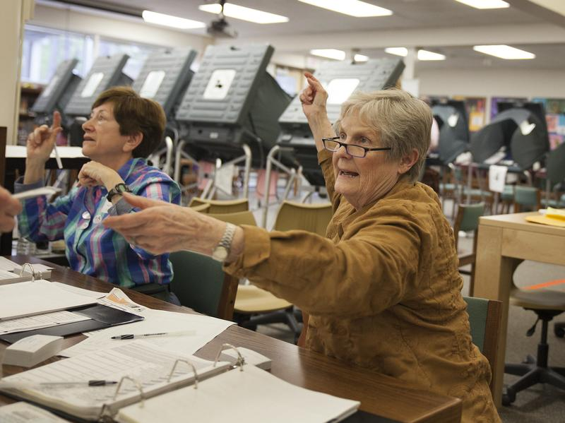 Ann Moss checks a voter's ID before signing her in to vote at Hunters Creek Elementary School in Houston during the Texas primaries on March 1.