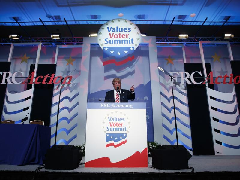 Republican presidential candidate Donald Trump speaks to the Value Voters Summit on Friday, Sept. 9, in Washington, DC.