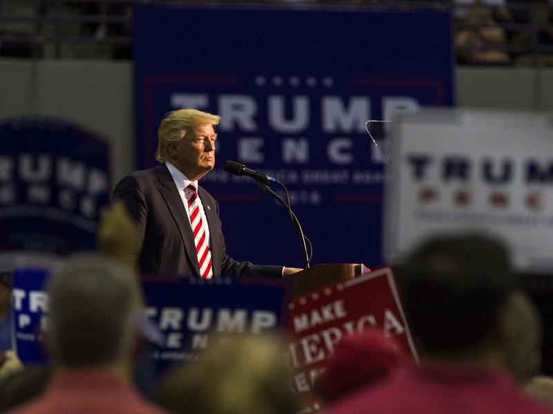 Republican Presidential candidate Donald Trump speaks during his rally at the Pensacola Bay Center on September 9 in Pensacola, Florida.
