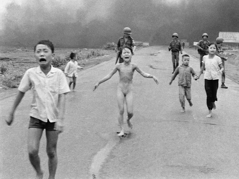 This is a June 8, 1972 file photo of South Vietnamese forces follow after terrified children, including 9-year-old Kim Phuc (center). The Pulitzer Prize-winning image is at the center of a heated debate about freedom of speech in Norway after Facebook deleted it from a Norwegian author's page.