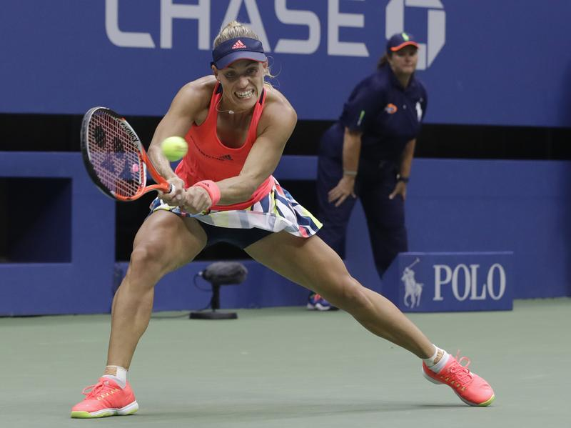 Angelique Kerber, of Germany, returns a shot to Karolina Pliskova, of the Czech Republic, during the women's singles final of the U.S. Open tennis tournament, Saturday, in New York.