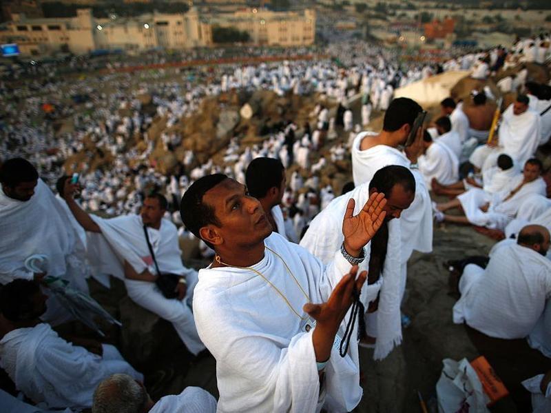 Muslim pilgrims join one of the hajj rituals on Mount Arafat near Mecca early on Sunday.