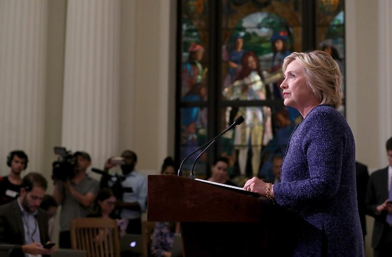 Democratic presidential nominee Hillary Clinton speaks with reporters following a National Security Working Session at the New York Historical Society Library on Sept. 9, 2016. (Justin Sullivan/Getty Images)