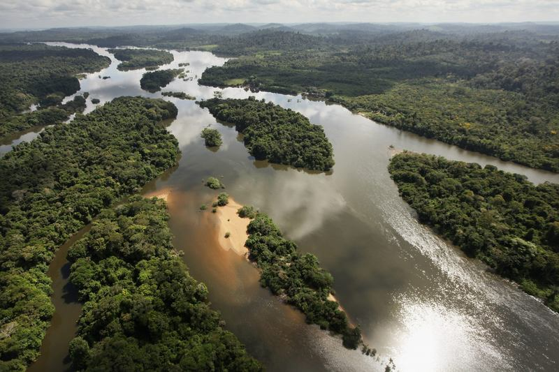 The Xingu River flows near the area where the Belo Monte dam complex is under construction in the Amazon basin on June 15, 2012 near Altamira, Brazil. (Mario Tama/Getty Images)