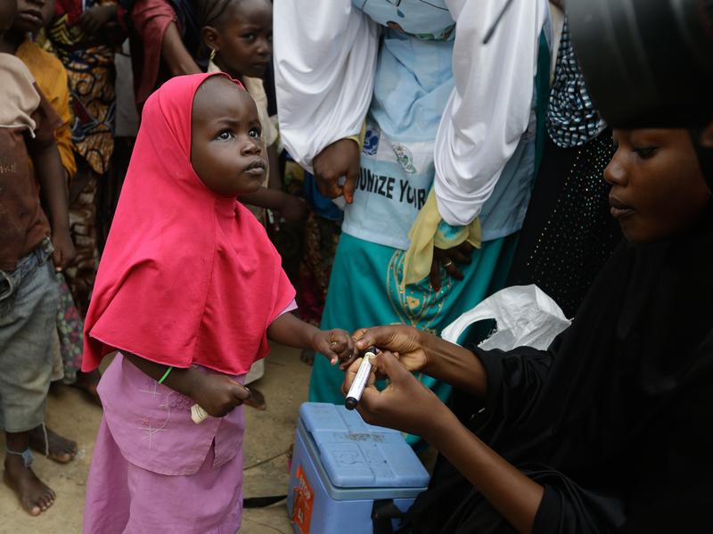 A health official inks a child's finger to indicate she has received a polio vaccine last month at a camp of people displaced by Islamist extremists in Nigeria.