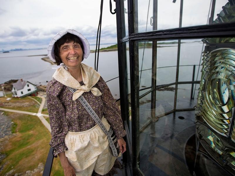 Sally Snowman atop Boston Light. She is one of the last lighthouse keepers in the country — but the only one with the Coast Guard.