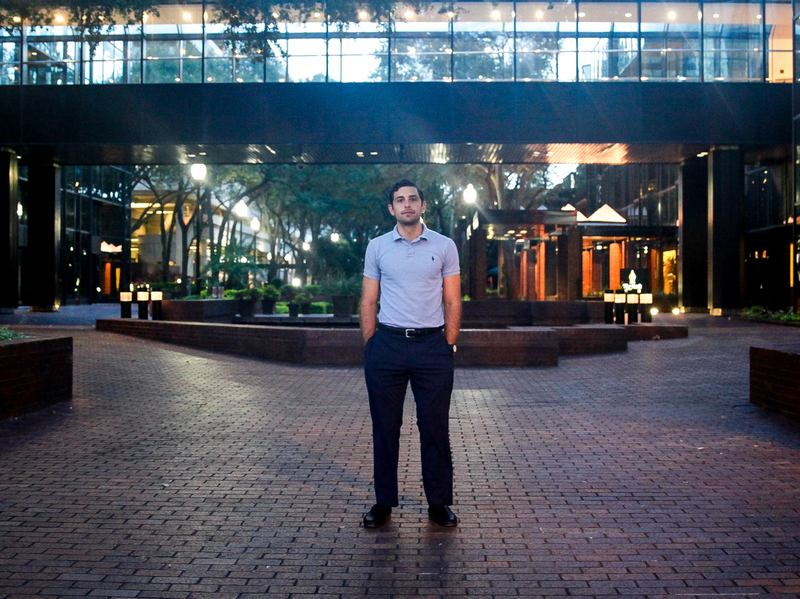 """Zach Lombardo, 26 is an attorney in Tampa, FL. This election, he's voting for Libertarian Gary Johnson. He's not surprised by Trump's use of media in this election noting, """"It's like what 24 hour news coverage plus one,"""" referring to social media."""