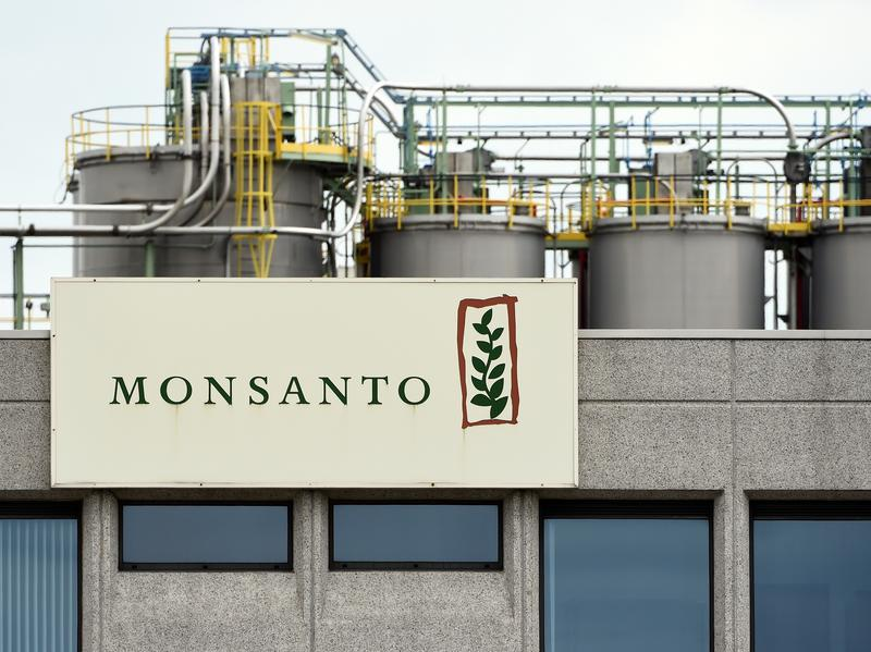 The Monsanto logo on a building at the firm Manufacturing Site and Operations Center near Antwerp, Belgium, on May 24.