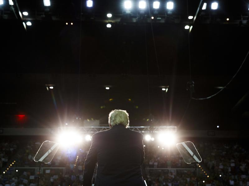 Donald Trump speaks during a rally September 9 in Pensacola, Fla.