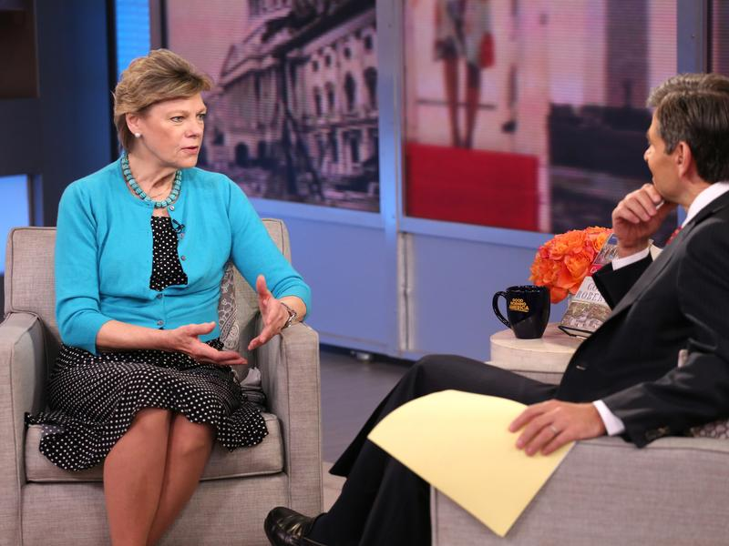 "Cokie Roberts talks to George Stephanopoulos, on ABC's ""Good Morning America"" in 2015."