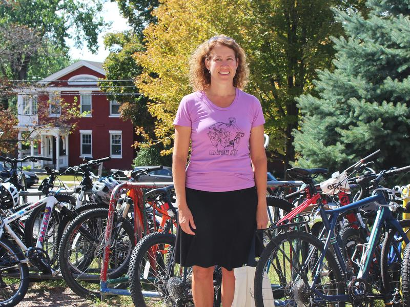 Peggy O'Neill stands outside Edmunds Elementary and Middle Schools in Burlington, Vt. She was one of the strongest advocates for the bike lane in her city but met a lot of resistance.