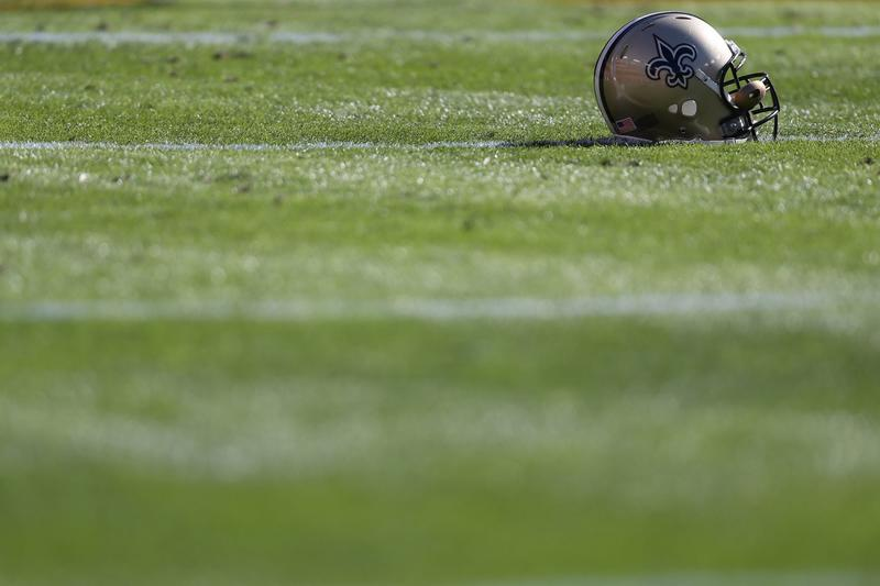 A New Orleans Saints helmet at FedExField on Nov. 15, 2015 in Landover, Md. (Patrick Smith/Getty Images)
