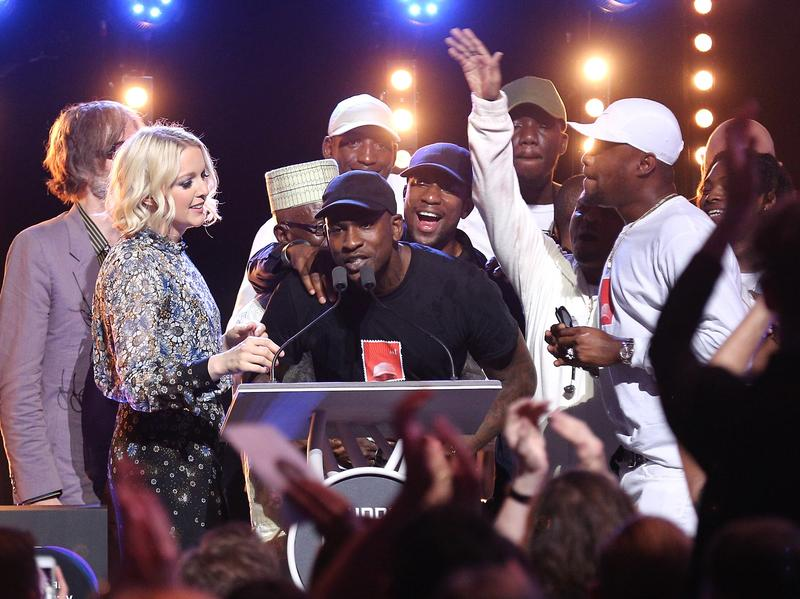 Grime artist Skepta accepts his award after being announced the winner of the Mercury Prize on September 15, 2016 in London, England.