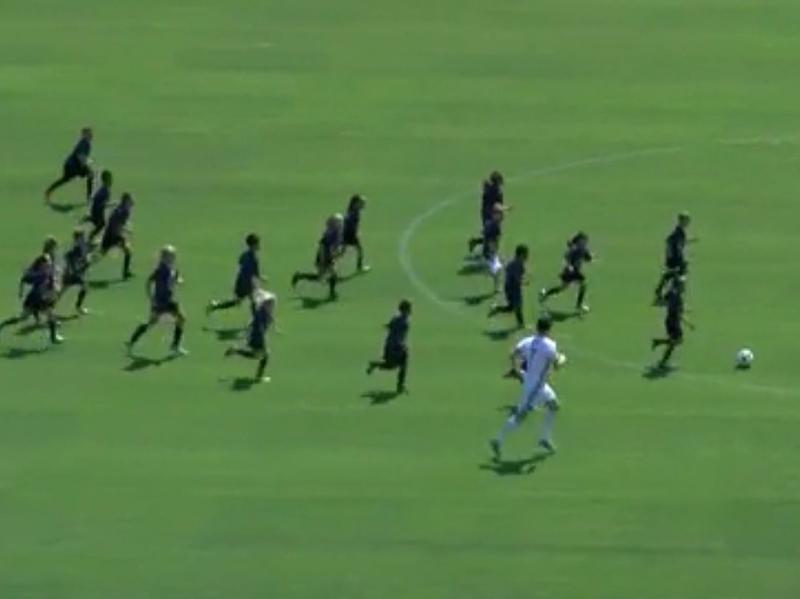 Two members of the LA Galaxy took on a team of 30 8-year-olds, in a matchup of (young) age and (soccer) beauty.
