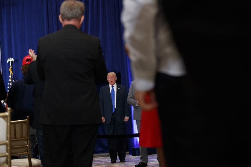 Republican presidential candidate Donald Trump arrives for a campaign event at Trump International Hotel, Friday, Sept. 16, 2016, in Washington. (Evan Vucci/AP)