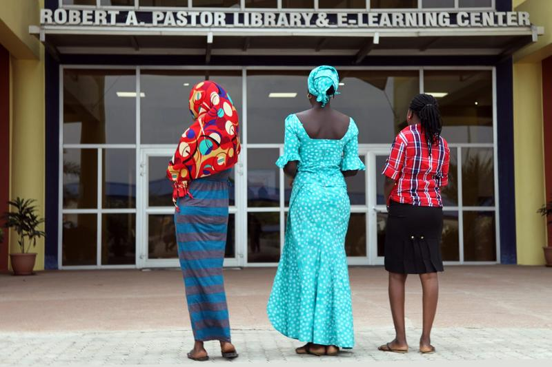 Three teenagers who escaped a Boko Haram mass kidnapping in the northeast Nigerian town of Chibok in 2014 are seen at the American University of Nigeria, in Yola, Adamawa, on May 8, 2015. (Emmanuel Arewa/AFP/Getty Images)