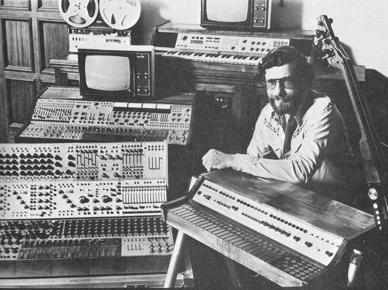 Don Buchla with his synthesizers in the 1960s.