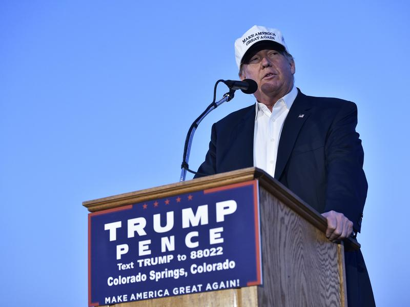 Donald Trump speaks during a rally in Colorado Springs earlier this month.