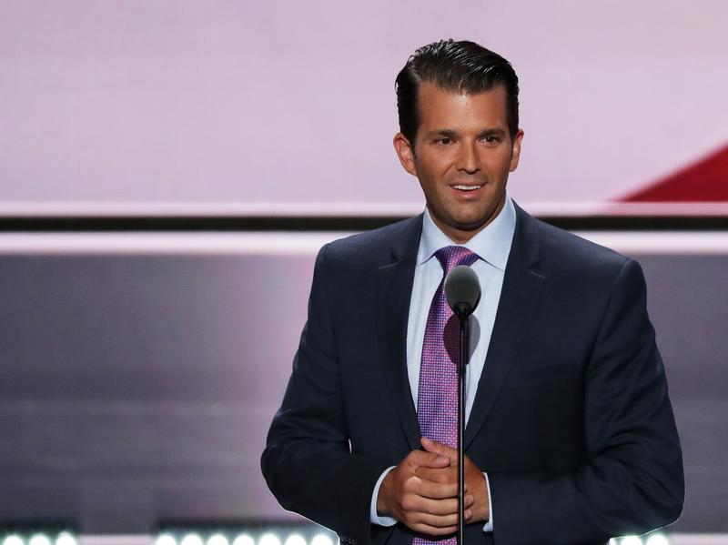 Donald Trump Jr. delivers a speech on the second day of the Republican National Convention on July 19 in Cleveland.
