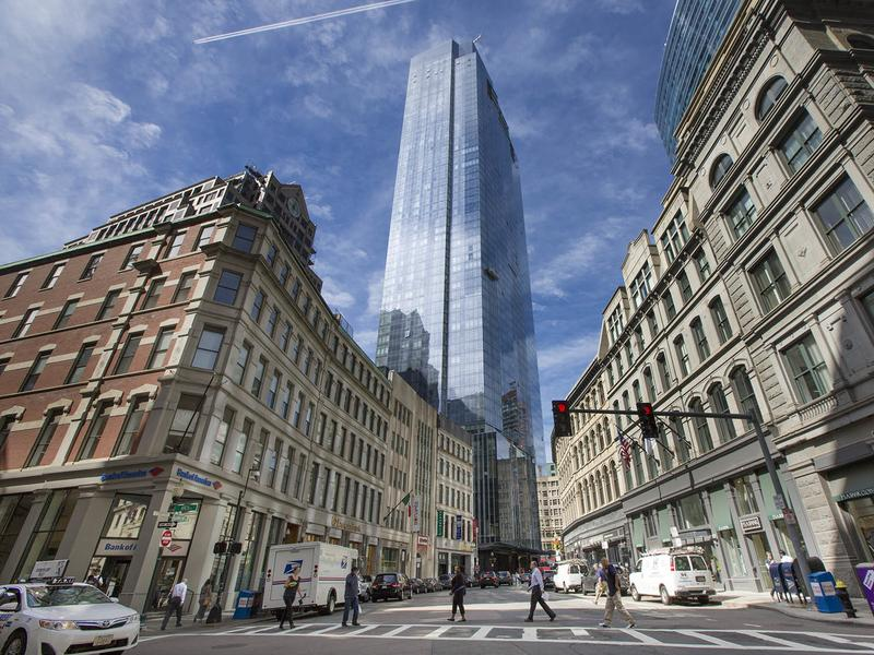 The Millennium Tower looking down Franklin Street in downtown Boston. The city has seen a tech boom and housing prices have also increased over the past few years.