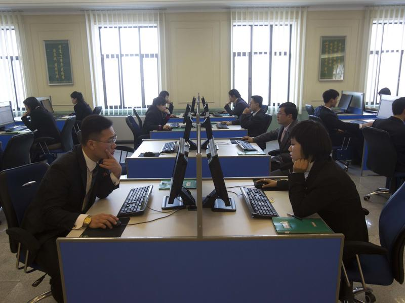 North Korean students work at computer terminals inside a computer lab at Kim Il Sung University in Pyongyang in January 2013.