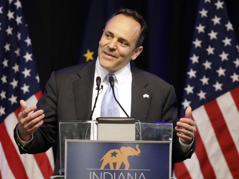 Kentucky Gov. Matt Bevin, seen here at a GOP event in April, overstepped his authority when he imposed a 4.5 percent budget cut on the state's university and community college system, the state's supreme court says.