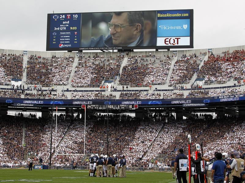 Joe Paterno is seen on the scoreboard during a time out against the Temple Owls during the game on September 17, 2016 at Beaver Stadium in State College, Penn.