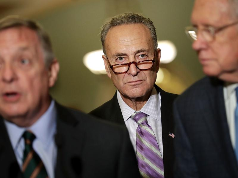Sen. Chuck Schumer (D-NY), center, joins Senate Minority Leader Harry Reid (D-NV), right, and Senate Minority Whip Richard Durbin (D-IL), left, for a news conference following the weekly Senate Democratic policy luncheon at the U.S. Capitol on Sept. 7, in Washington, D.C.