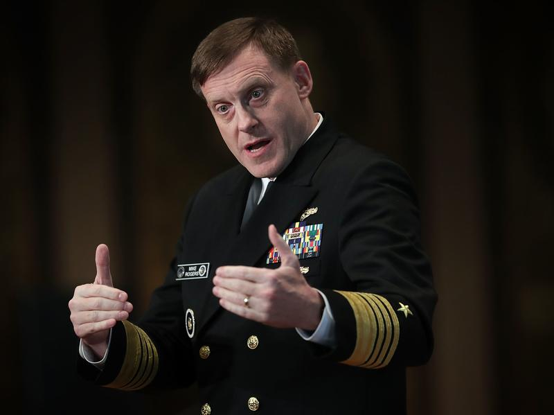 Adm. Michael Rogers, director of the National Security Agency and commander of U.S. Cyber Command, speaks at Georgetown University on April 26. Three years after Edward Snowden disclosed NSA files, the agency is checking to see if was recently hacked.