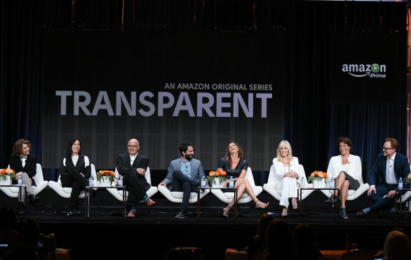 "Director/writer/producer Jill Soloway, from left, producer Andrea Sperling, Jeffrey Tambor, Jay Duplass, Amy Landecker, Judith Light, Alexandra Billings and Bradley Whitford participate in the ""Transparent"" panel at the Amazon Summer TCA Tour at the Beverly Hilton Hotel Monday, Aug. 3, 2015, in Beverly Hills, Calif. (Richard Shotwell/Invision/AP)"