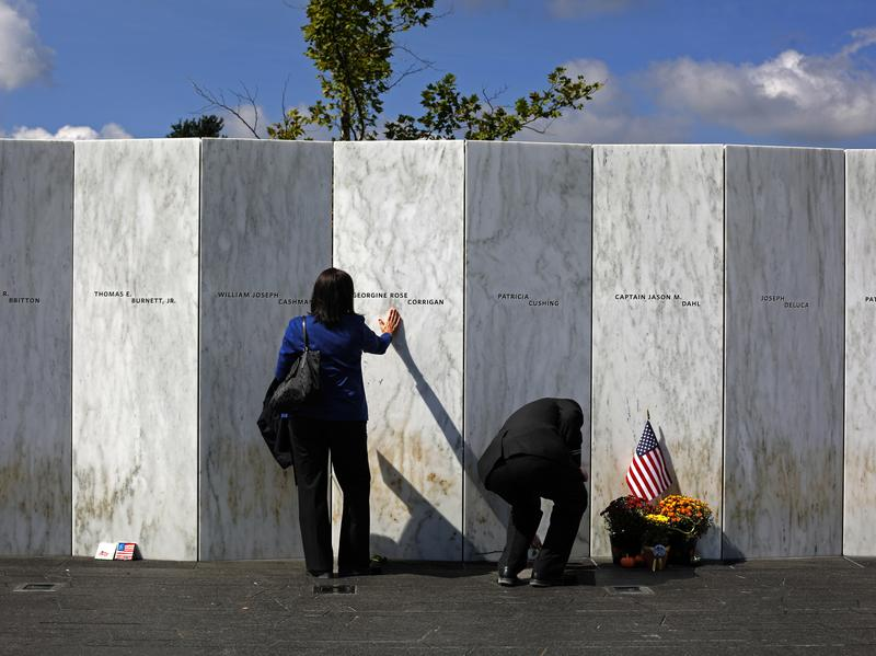 Visitors honor victims of the Sept. 11 attacks at the Wall of Names at the Flight 93 National Memorial in Shanksville, Pa., earlier this month.