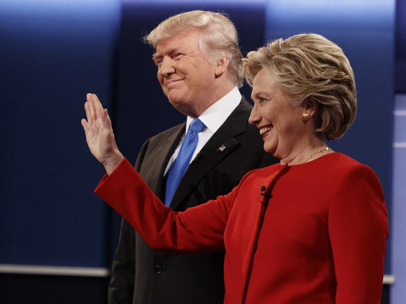 Republican candidate Donald Trump stands with Democratic candidate Hillary Clinton before the first presidential debate at Hofstra University in Hempstead, N.Y., on Monday.