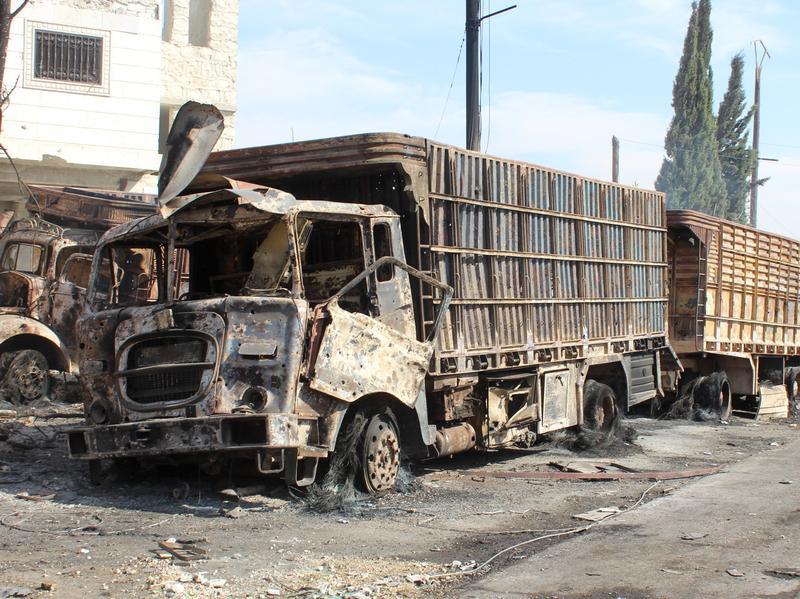 Trucks carrying humanitarian aid were hit by airstrikes in Aleppo, Syria, last week. Twenty people were killed, including 12 aid workers.