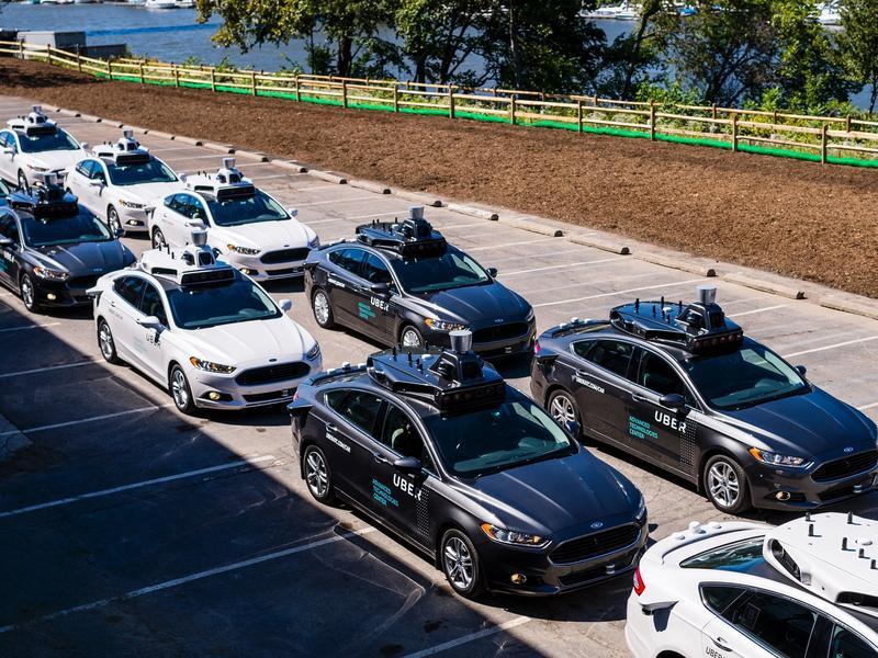 Pilot models of the Uber self-driving car in Pittsburgh, Pennsylvania.