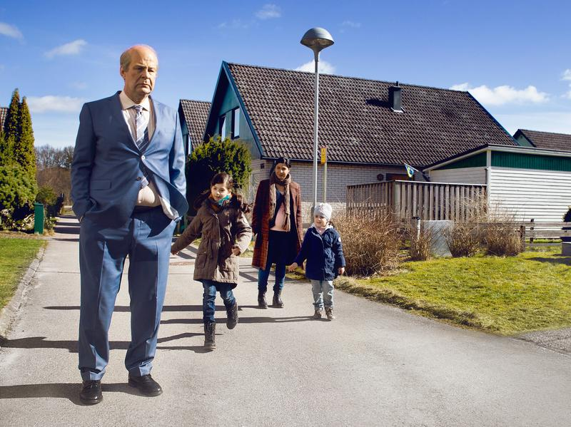 Rolf Lassgård, left, stars as a grouchy widower in <em>A Man Called Ove, </em>which opens Friday in U.S. theaters.