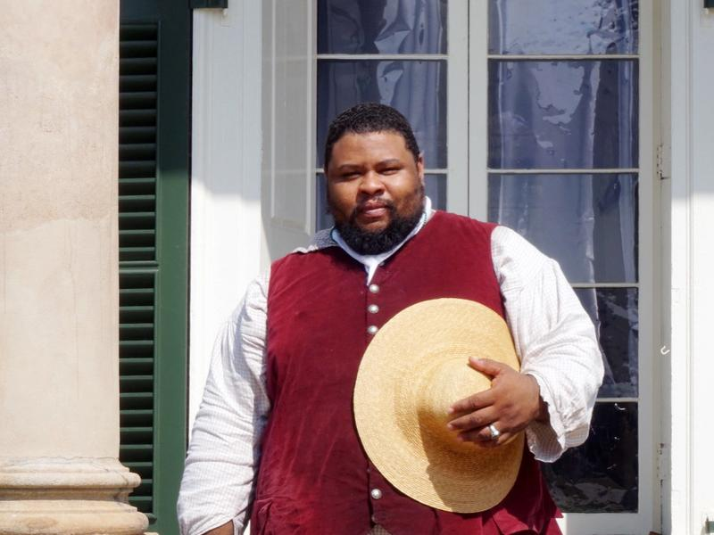 Michael Twitty wants credit given to the enslaved African-Americans who were part of Southern cuisine's creation. Here he is in period costume at Monticello, Thomas Jefferson's Virginia estate.