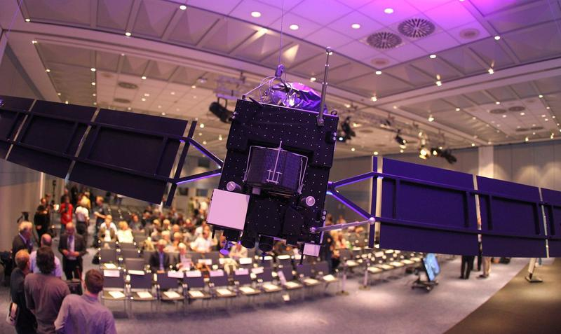 A model of the space probe Rosetta is pictured at the headquarters of the European Space Operation Center (ESOC) of the European Space Agency (ESA) in Darmstadt, western Germany, on Sept. 30, 2016, the day of the controlled descent of the ESA space probe Rosetta onto the surface of Comet 67P/Churyumov-Gerasimenko. (Daniel Roland/AFP/Getty Images)