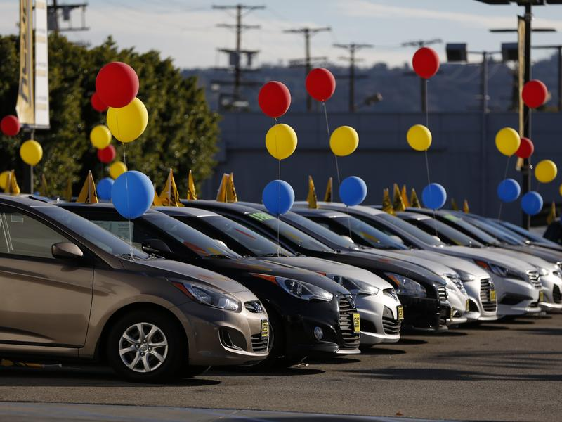Hyundai vehicles sit on display on a lot in Los Angeles earlier this year.