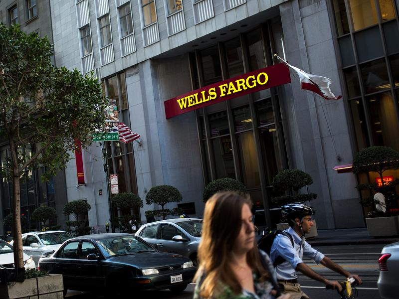 The entrance to Wells Fargo Headquarters on California Street in San Francisco.