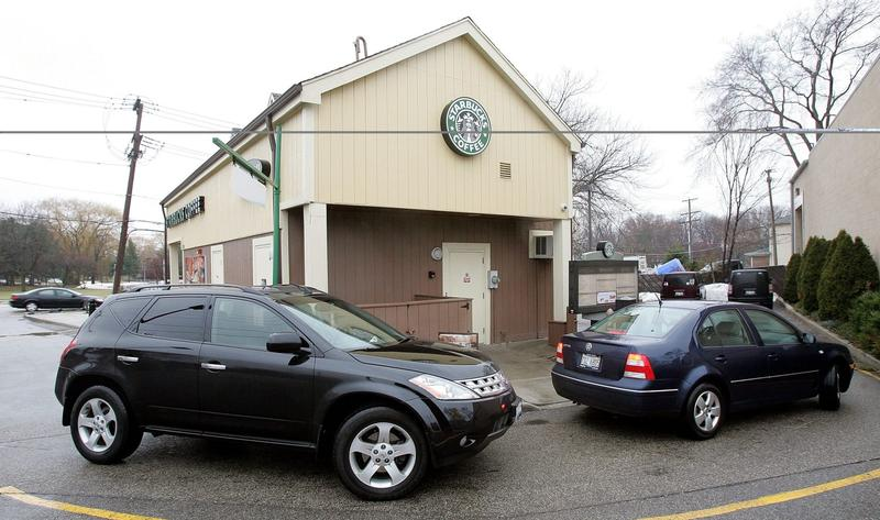Cars are seen in line outside a Starbucks drive-thru on Dec. 28, 2005 in Wheeling, Ill. (Tim Boyle/Getty Images)