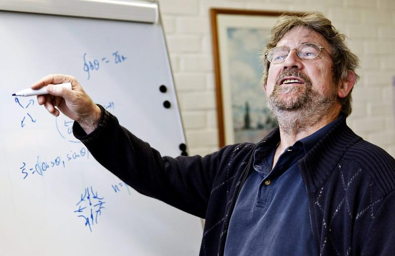 John Michael Kosterlitz, one of the scientists that has been awarded the Nobel Prize in physics, poses for a photo at Aalto University in Espoo, Finland, Tuesday Oct. 4, 2016. (Roni Rekomaa/Lehtikuva via AP)