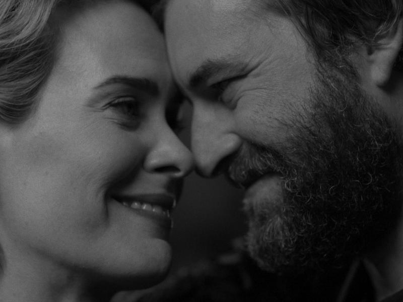 Sarah Paulson and Mark Duplass in <em>Blue Jay</em>, a film written by Duplass and directed by Alex Lehrmann.
