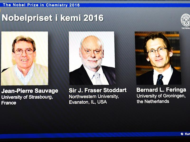 The winners of the 2016 Nobel Prize in Chemistry are displayed on a screen during a press conference to announce the winners at the Royal Swedish Academy of Sciences in Stockholm on Wednesday.