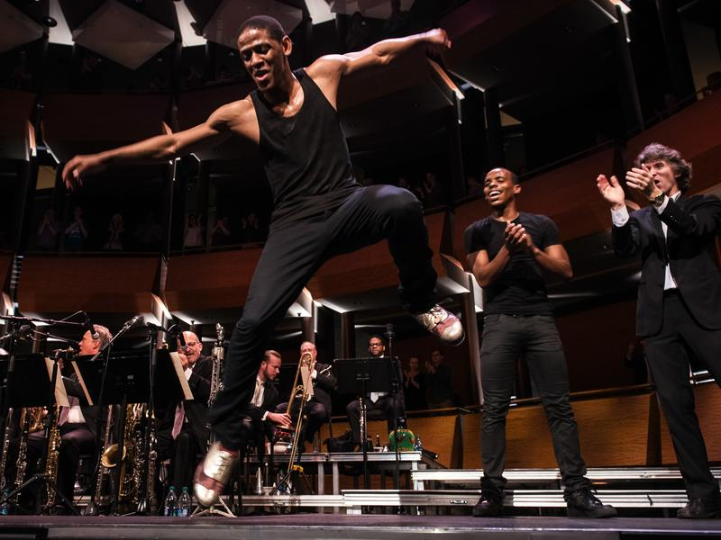 Jared Grimes performs a tap routine during Spaces at Jazz at Lincoln Center