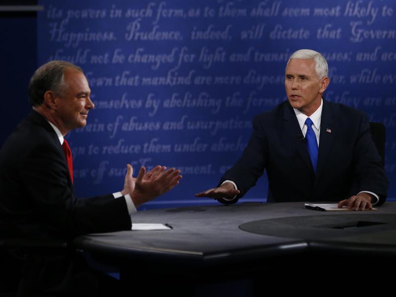 Republican vice presidential nominee Mike Pence and Democratic vice presidential nominee Tim Kaine debate at Longwood University in Farmville, Va., on Oct. 4.