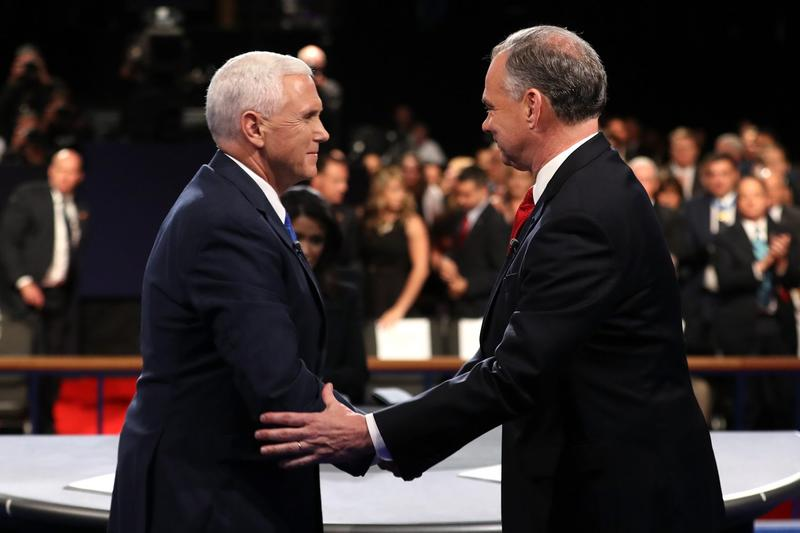 Republican vice-presidential nominee Mike Pence (left) and Democratic vice-presidential nominee Tim Kaine shake hands on stage following the Vice-Presidential Debate at Longwood University on Oct. 4, 2016 in Farmville, Va. (Joe Raedle/Getty Images)