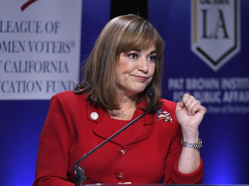 California U.S. Senate Democratic candidate Congresswoman Loretta Sanchez speaks during a debate against California Attorney General Kamala Harris Wednesday in Los Angeles. She ended her closing remarks with a once-popular, but now surely over, dance move.