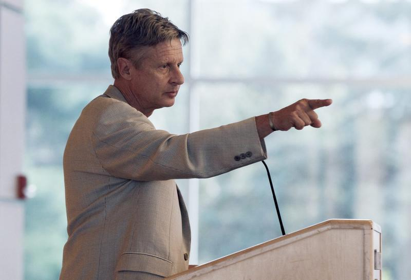 Many third party supporters are college students, especially disgruntled Bernie Sanders followers. In this Sept. 21, 2012 file photo, Libertarian Party presidential nominee Gary Johnson, addresses students at Macalester College in St. Paul, Minn. (AP Photo/Jim Mone,File)
