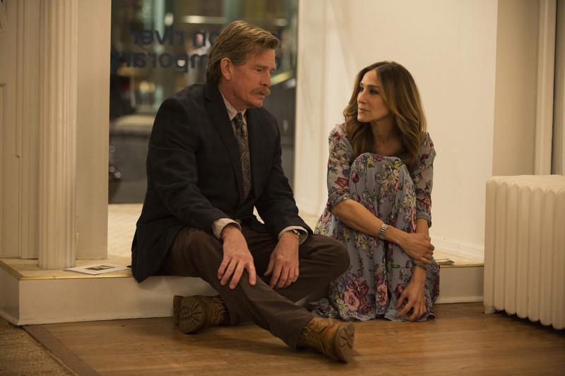 """Thomas Haden Church, left, and Sarah Jessica Parker in a scene from HBO's """"Divorce,"""" premiering Sunday at 10 p.m. ET. (Craig Blankenhorn/HBO via AP)"""